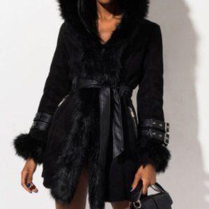 Akira Black Fur Coat